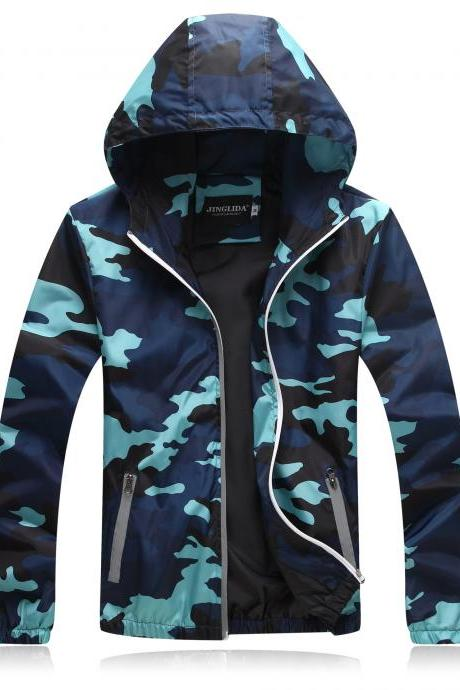 Unisex Men Women Coats Casual Hooded Camouflage Jackets Outerwear Waterproof Spring Autumn Windbreaker blue