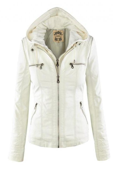 Fashion Spring Autumn Faux Leather Basic Jacket Women Slim Detachable Hooded Coats Motorcycle Jacket off white