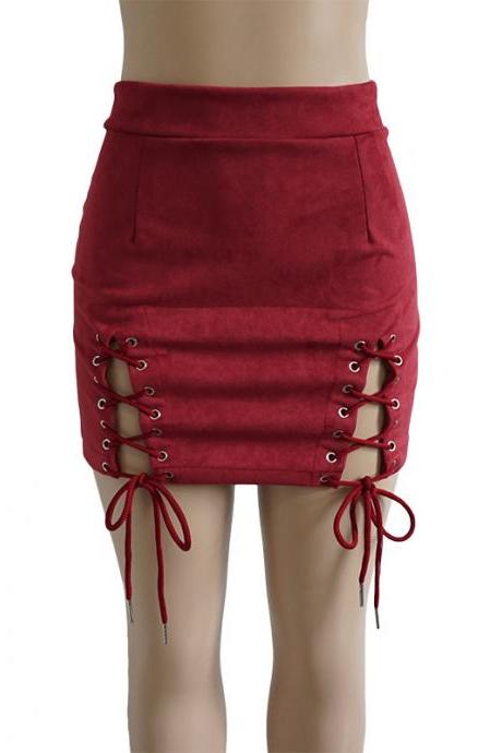 Women Faux Suede Mini Skirt Classic Sexy Bandage High Waist Lace Up Bodycon Short Pencil Skirt burgundy