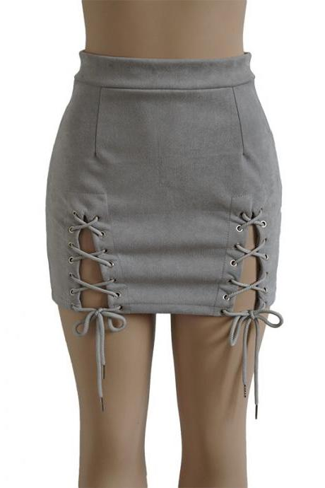 Women Faux Suede Mini Skirt Classic Sexy Bandage High Waist Lace Up Bodycon Short Pencil Skirt gray