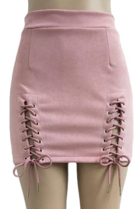 Women Faux Suede Mini Skirt Classic Sexy Bandage High Waist Lace Up Bodycon Short Pencil Skirt pink