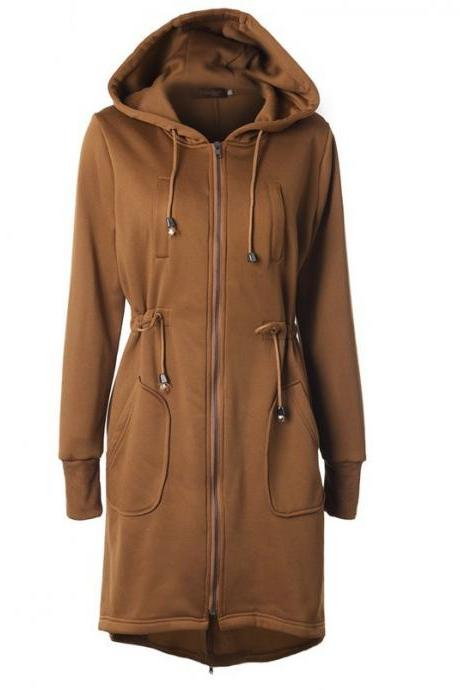 Women Hoodies Overcoat Autumn Winter Warm Fleece Coat Zip Up Outerwear Hooded Long Sweatshirt Jacket khaki