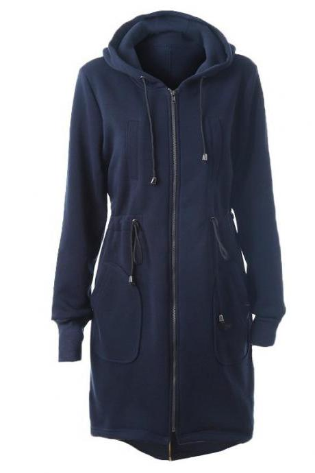Women Hoodies Overcoat Autumn Winter Warm Fleece Coat Zip Up Outerwear Hooded Long Sweatshirt Jacket navy blue