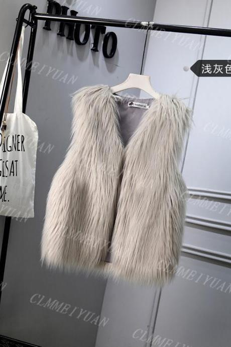 Women Faux Fur Vest Solid Winter Loose Oversize Female Sleeveless Jacket Waistcoat silver gray