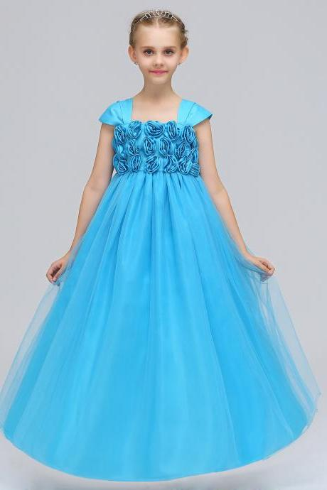 Princess Flower Girl Dress Cap Sleeve Long Formal Dance Party Tutu Gowns Children Clothes blue