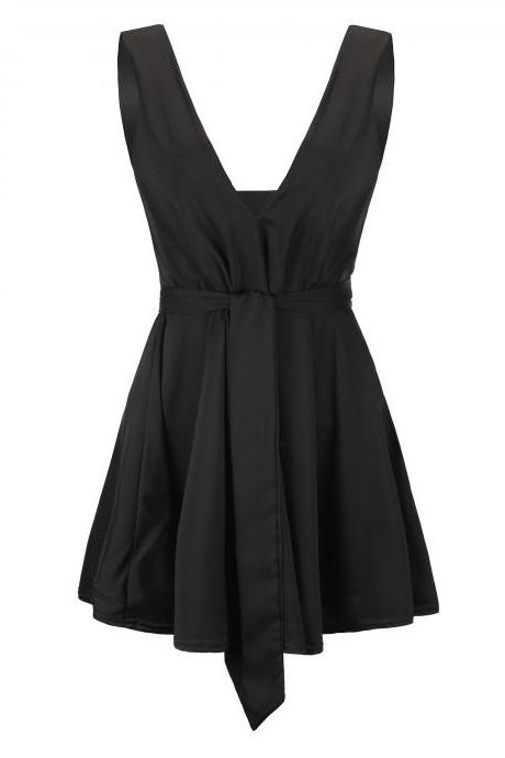 Deep V Neck Sleeveless High Waist Belted Little Black Dress