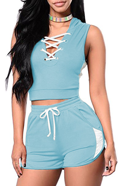 Summer Two Piece Set Sexy Bandage Crop Top+Shorts Suit Women Tracksuit Outfits Sportwear light blue