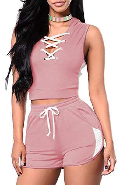 Summer Two Piece Set Sexy Bandage Crop Top+Shorts Suit Women Tracksuit Outfits Sportwear pink
