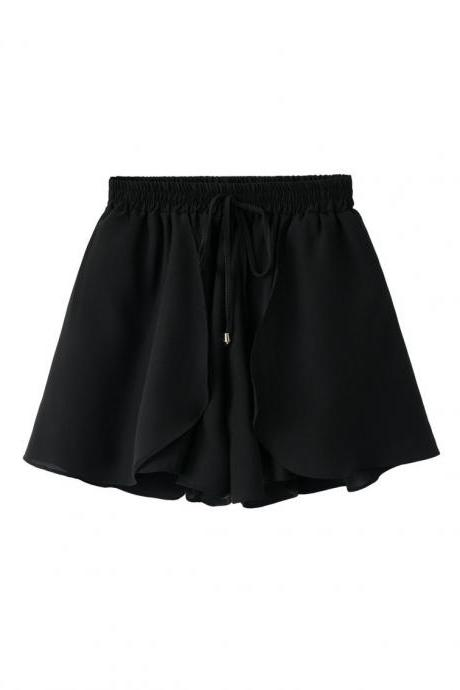 New Chiffon Wide Leg Shorts Drawstring High Waist Summer Solid Casual Loose Shorts black