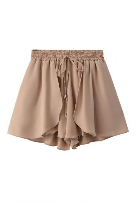 Light Brown Chiffon Elasticised High Waist Loose-Fit Shorts