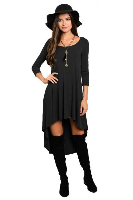 Comfortable Summer Casual Loose Dress Women Solid Long Sleeve O-Neck Asymmetrical Plus Size Dress black