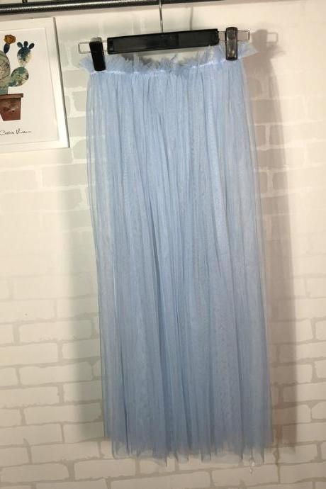 Summer Style Sheer Tulle Skirts A Line Tea Length High Waist Sexy Women See Through Skirt baby blue