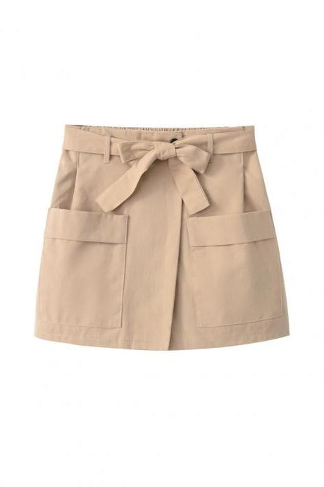 Women High Waist Shorts Women Belted Beach Summer Loose Streetwear Wide Leg Shorts khaki