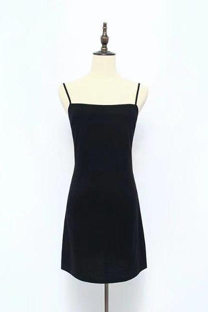 Spaghetti Strap Back Tie Bow Casual Slim Fit Little Black Dress