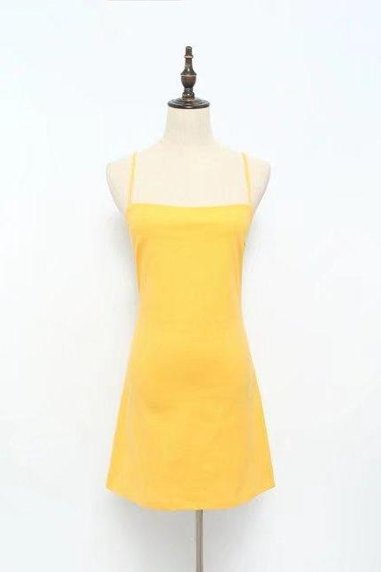 Women Summer Beach Dress Sexy Spaghetti Strap Sleeveless Tie Back Bow Casual Slim Mini Party Sundress yellow