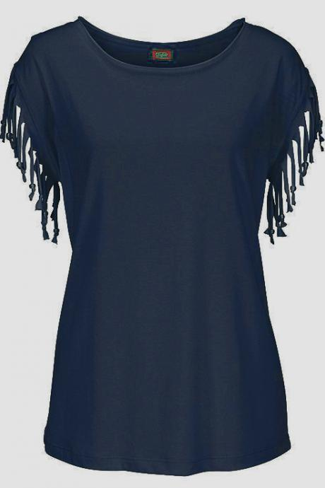 Women Tassel Casual T-Shirt Solid Color Basic Short Sleeve O-Neck Plus Size Summer Tops navy blue
