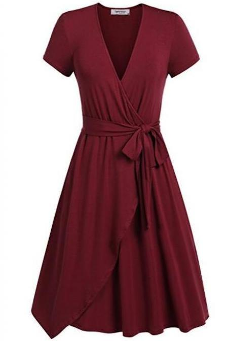 Women Summer Casual Dress V Neck Short Sleeve Belted A-line Wrap Midi Party Dress burgundy