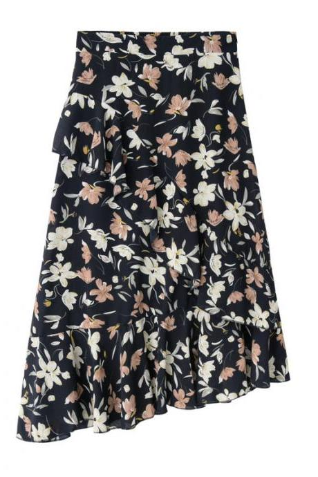Women Floral Printed Mermaid Skirt High Waist Ruffles Asymmetrical Fishtail Midi Skirt navy blue