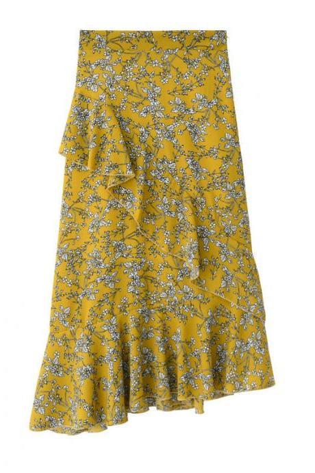 Women Floral Printed Mermaid Skirt High Waist Ruffles Asymmetrical Fishtail Midi Skirt yellow