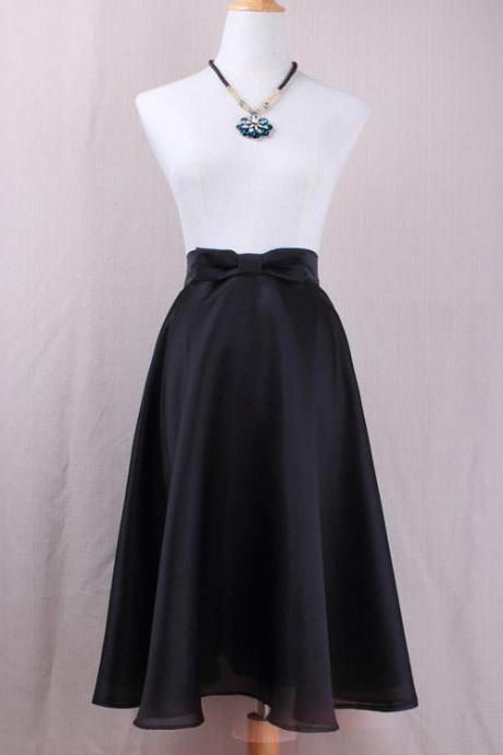Fashion Bow High Waist A-Line Midi Skirt Women Solid Work Swing Skater Skirt black