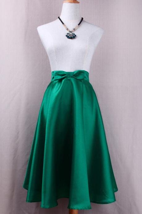 Fashion Bow High Waist A-Line Midi Skirt Women Solid Work Swing Skater Skirt green