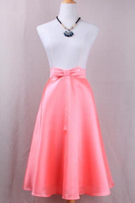 Fashion Bow High Waist A-Line Midi Skirt Women Solid Work Swing Skater Skirt pink