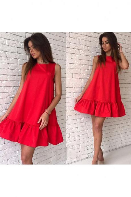 Sexy Ruffles Casual Dress Women Summer Sleeveless A Line Plus Size Short Mini Party Dress red