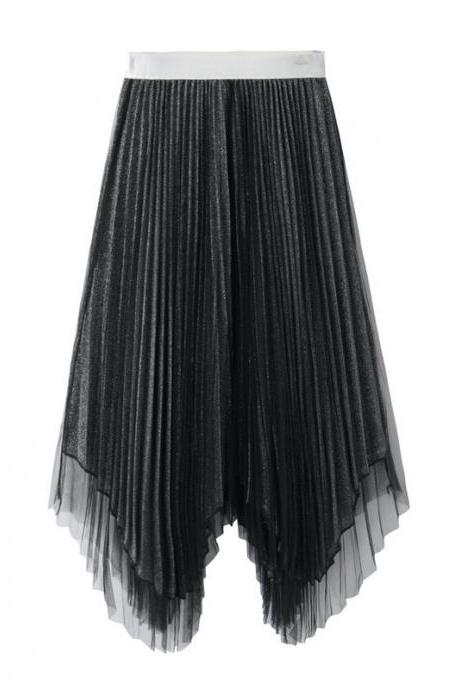Women Midi Skirt Summer Asymmetrical High Waist Shiny A-Line Long Tulle Pleated Skirt black