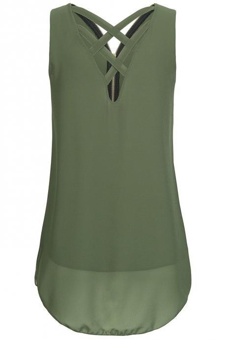 Army Green Criss-Cross Plunge V Sleeveless Tank Top Featuring Zipper Back, Plus Size