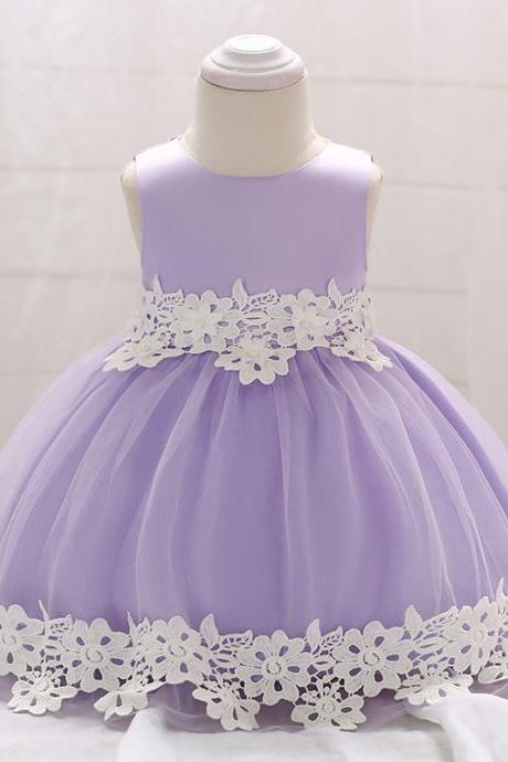 Newborn Baby Lace Flower Girl Dress Toddler Birthday Prom Party Tutu Gown Kids Clothes Lilac