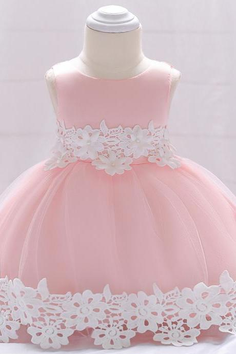 Newborn Baby Lace Flower Girl Dress Toddler Birthday Prom Party Tutu Gown Kids Clothes Salmon