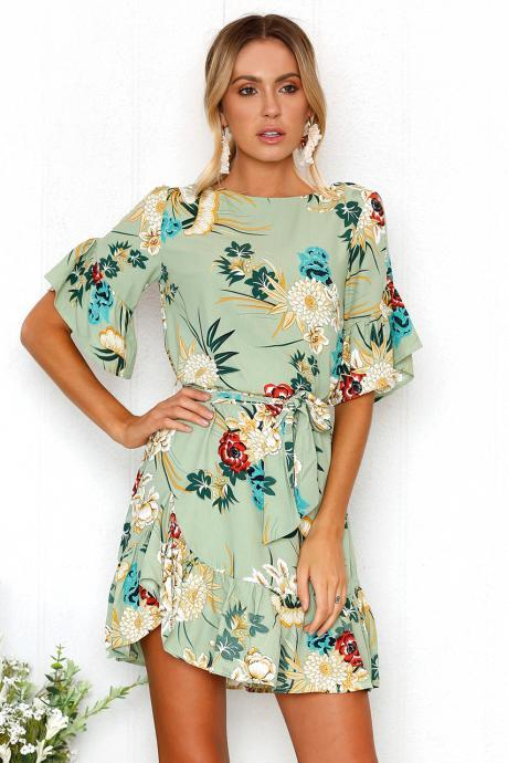 Bohemian Floral Printed Summer Dress Women O-Neck Short Sleeve Ruffle Mini Belted Beach Dress sage