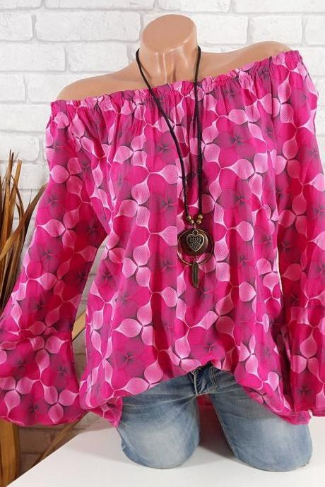 Off the Shoulder Top Women Office Work Floral Print Flare Sleeve Blouse Casual Loose Shirt hot pink
