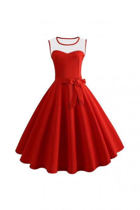 Women Sleeveless Casual Dress Mesh Patchwork O-Neck Belted A-Line Work Party Dress red