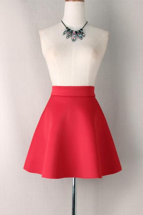 Women Mini A Line Skirt Summer High Waist Casual Party Short Skater Skirt Red