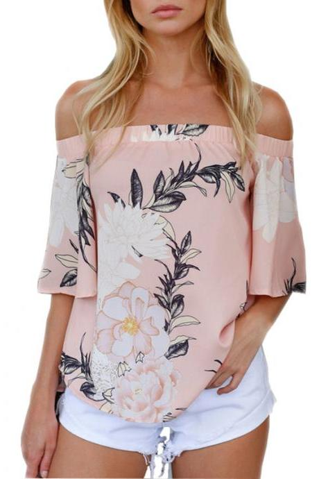Off-the-Shoulder Floral Print Summer Casual Blouse with Short Sleeves