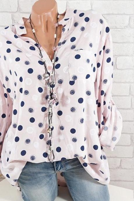 Women Polka Dot Print Blouse Long Sleeve V Neck Office OL Lady Casual Tops Shirts pink