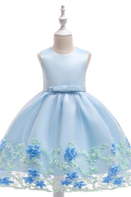 New Flower Girl Dress Birthday Prom Party Formal Tutu Gown Children Clothes light blue