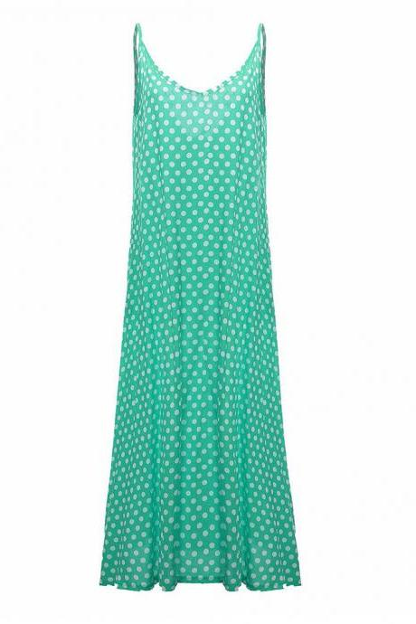 Women Summer Beach Maxi Dress Plus Size Spaghetti Strap Sleeveless Polka Dot Loose Long Sundress green