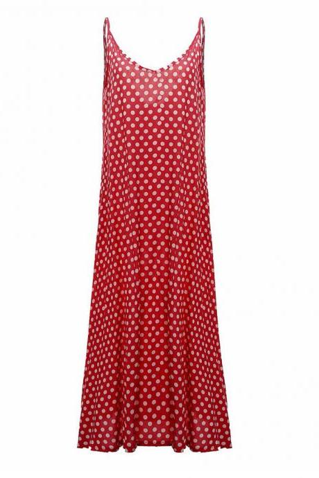 Women Summer Beach Maxi Dress Plus Size Spaghetti Strap Sleeveless Polka Dot Loose Long Sundress red