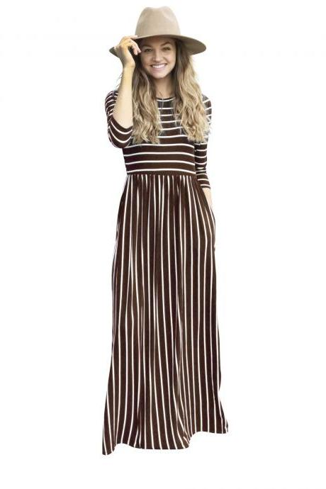 Women Summer Beach Boho Maxi Dress 3/4 Sleeve Pocket Striped Print Holiday Long Dress coffee