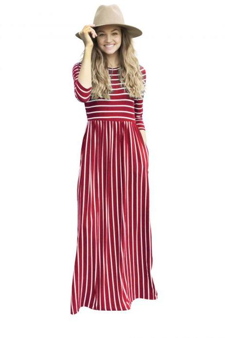 Women Summer Beach Boho Maxi Dress 3/4 Sleeve Pocket Striped Print Holiday Long Dress crimson
