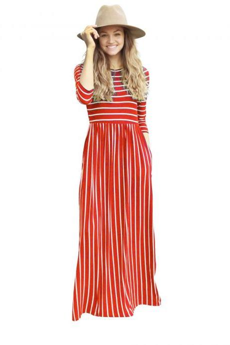 Women Summer Beach Boho Maxi Dress 3/4 Sleeve Pocket Striped Print Holiday Long Dress red
