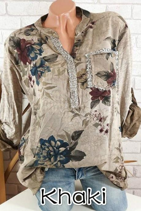 Boho Long Sleeve Floral Shirt Women V Neck Loose Tops Sequin Pocket Plus Size Casual Shirt khaki