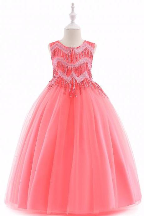 Beaded Flower Girl Dress Tassel Princess Formal Party Prom Long Gown Children Clothes coral