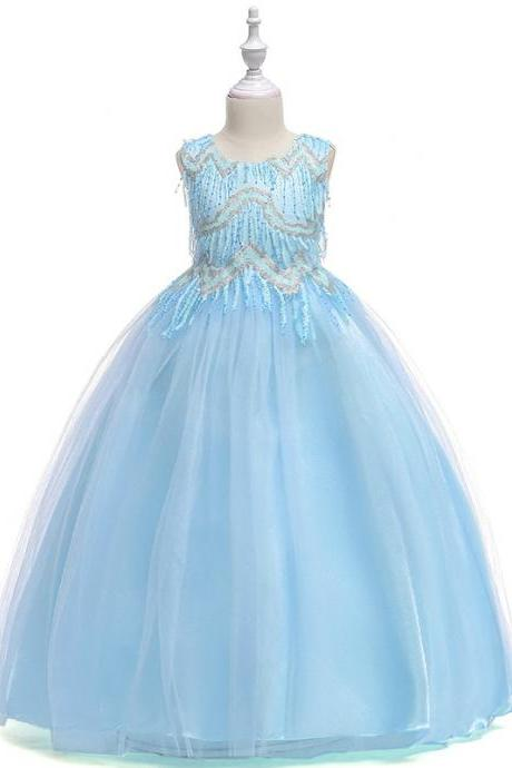 Beaded Flower Girl Dress Tassel Princess Formal Party Prom Long Gown Children Clothes light blue