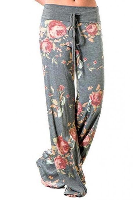 Women Wide Leg Long Pants Floral Print Casual High Waist Drawstring Loose Palazzo Pajama Trousers6#