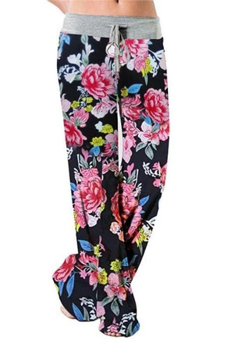 Women Wide Leg Long Pants Floral Print Casual High Waist Drawstring Loose Palazzo Pajama Trousers7#
