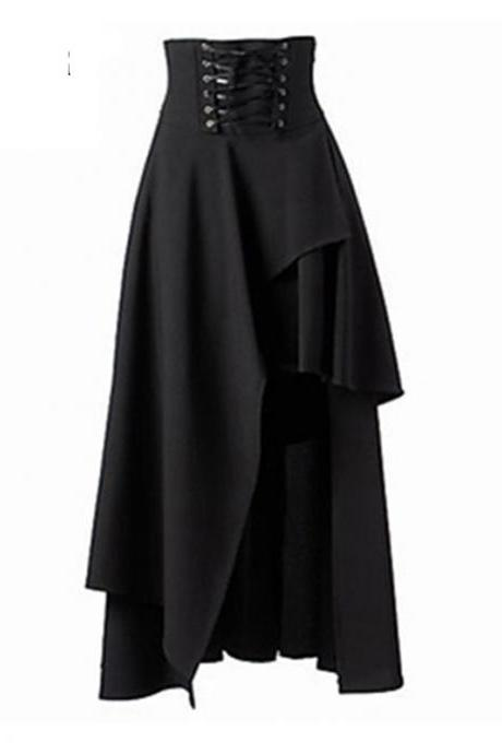 Gothic Steampunk Skirt Lolita Lace-Up High Waist Asymmetric Hem Bandage Long Maxi Skirts black
