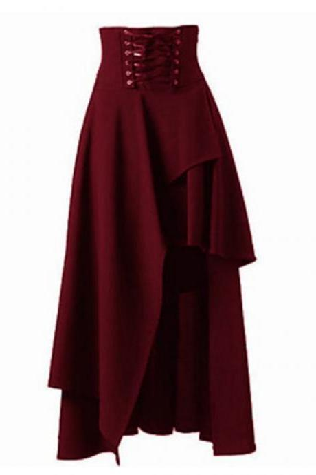 Gothic Steampunk Skirt Lolita Lace-Up High Waist Asymmetric Hem Bandage Long Maxi Skirts burgundy